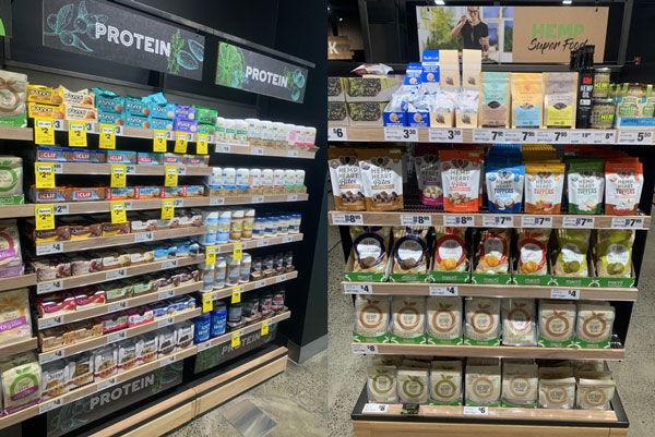 FMCG Woolworths healthy products in shelves