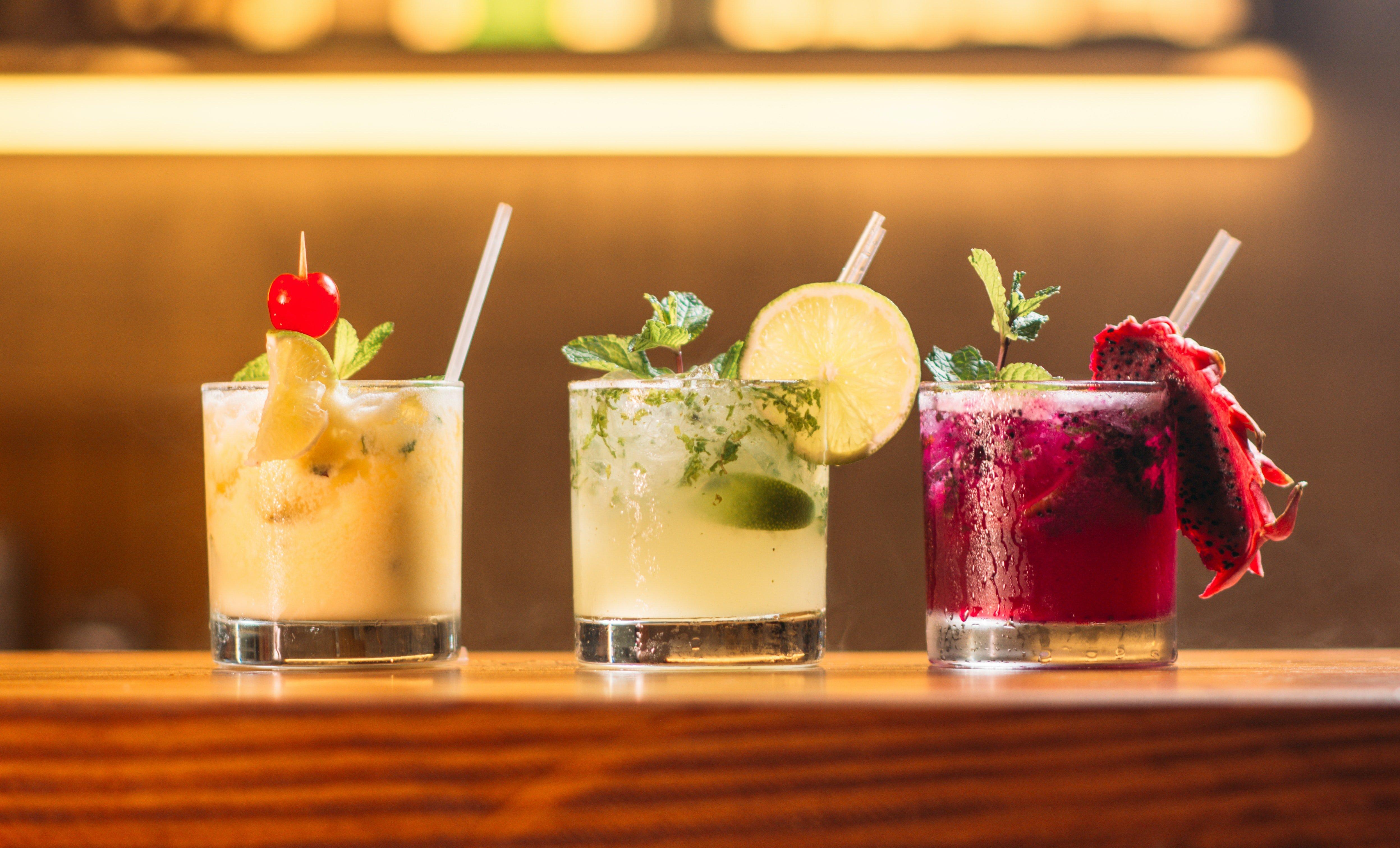 tasting different cocktails